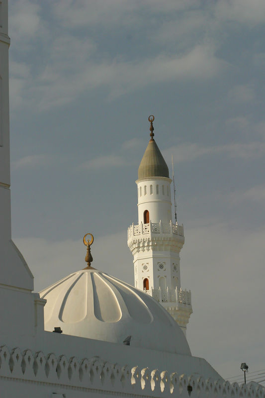 Masjid Quba. The very first mosque for the muslims in Medina and was built with the Prophets help.  It has since been redone.