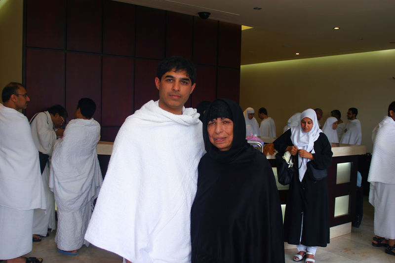 Standing with Mummy in the Movenpick Hotel.