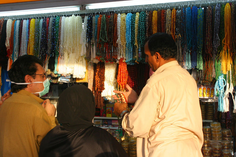 Arshad and my mom bargaining over prayer beads.  This is one of the souveniers that you bring back for friends from Hajj.