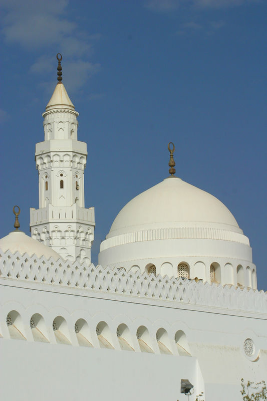 Masjid Qiblatain.  At this mosque, the prophet received the revelation on switching the Qibla(direction of prayer) from Jerusalem to Makkah(which are in opposite directions).  Hence it is the mosque with two Qiblas.