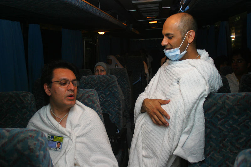 Arshad Jan (left) and Nadeem on the bus waiting for departure.