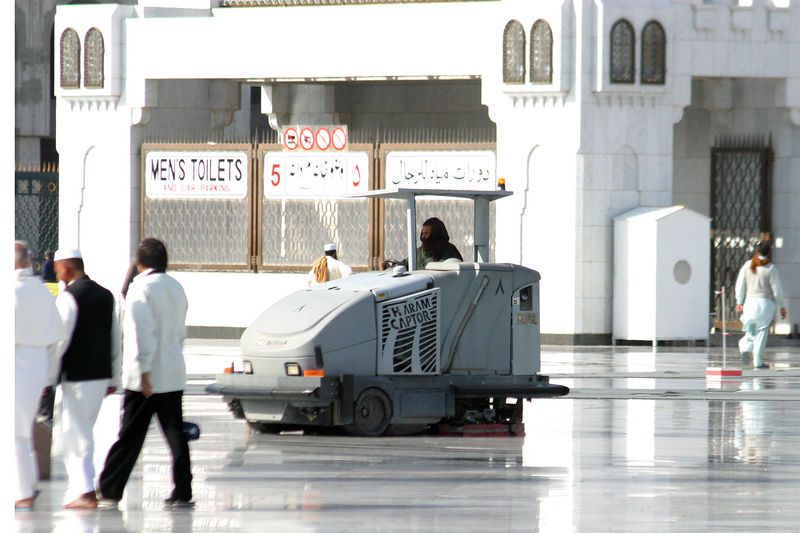 "The ""Haram Captors"" kept the marble in the courtyard sparkling clean with their Zamboni like action."