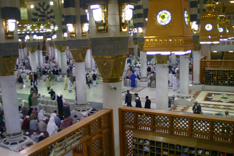 The inside of Masjid Nabvi.  The women in our group told us that it was much more crowded in their section.  At some point the Saudis will have to correct for the fact that many more women are coming to the mosque than before, and allocate enough space.