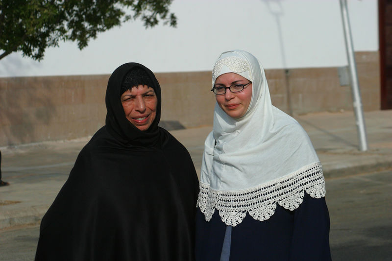 Nadia helped Mummy walk around the Masjid Qiblatain.