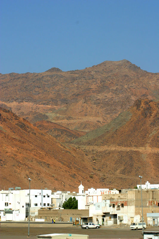 The houses and shops that surround the Ohud battle site.  The prophet was taken to a cave in one of the mountains in the background.  The Makkans left the battlefield very quickly and thus did not inflict the fatal blow to the growth of Islam they were hoping for.