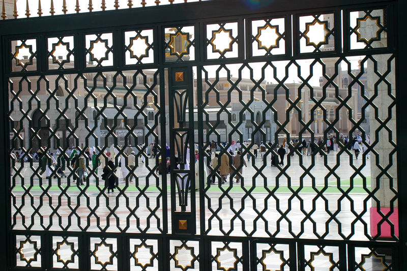 The fence around the mosque compund.