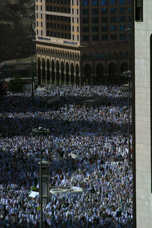 The crowds gathered in the courtyard of the Haram Masjid.  There is absolutely no room as you get close to the hajj days.