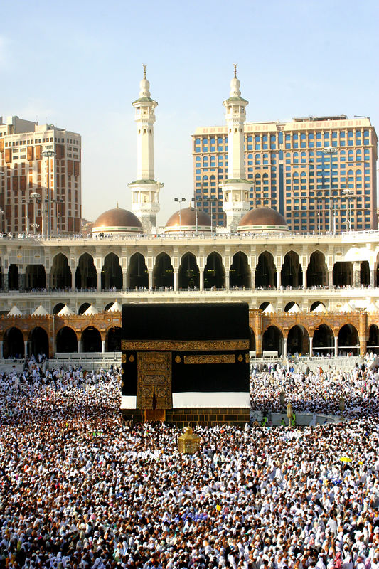 The crowded center of the mosque.  It is easy to see the second floor and the third floor which is the roof.  You can do tawaf (or circling of the Kaaba at any level.  When the Prophet did his one and only Hajj, he did it on a camel, so the intent is not to make this hard physically but to be meaningful.