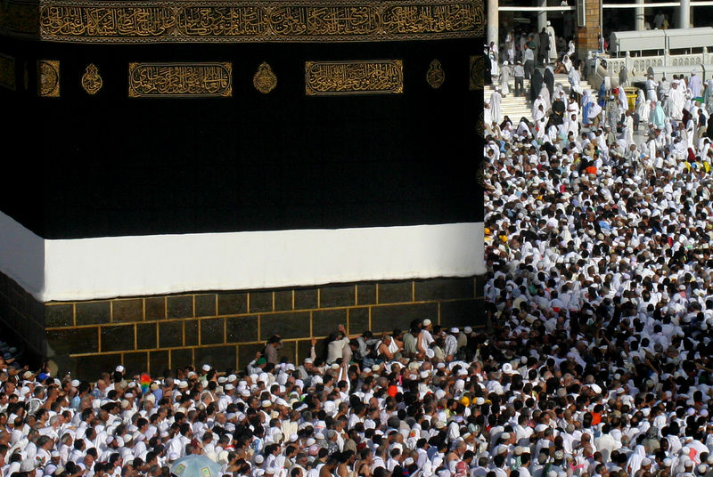You can see the line of people right up against the Kaaba trying to get close to the Hajaral-Aswad or the black stone.  It fell from the sky and is said to have turned from milky white to black by the fire of entry.  The pilgrims try to kiss the stone which is mounted in silver, but it is difficult through the crush of the crowd.  The pushing and jostling gets worse as youget closer, and Dr. Riaz advised us to not get too close since there is nothing in the Quran about having to touch or kiss the Hajaral-Aswad.  As a matter of fact any worship of an object is not permitted.