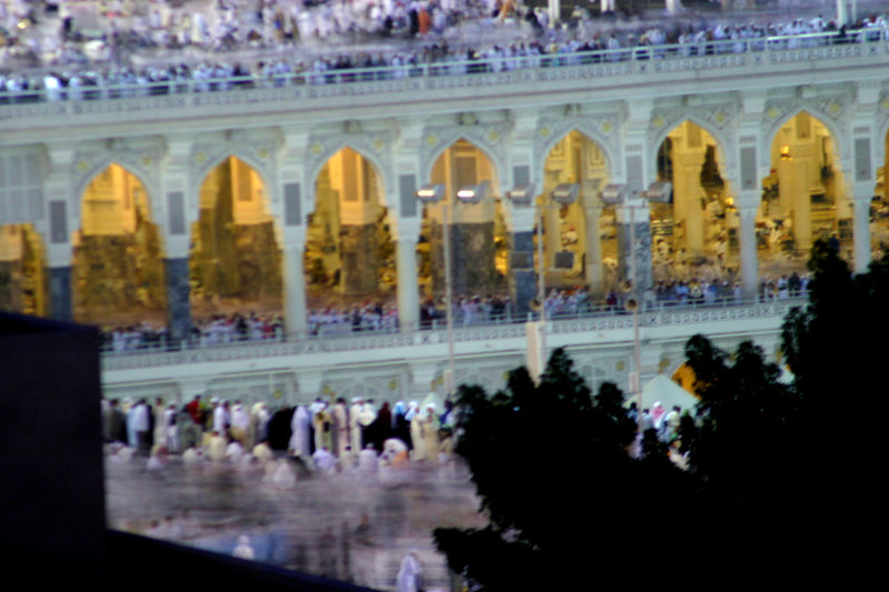 The blur of people doing tawaf after fajr prayers.