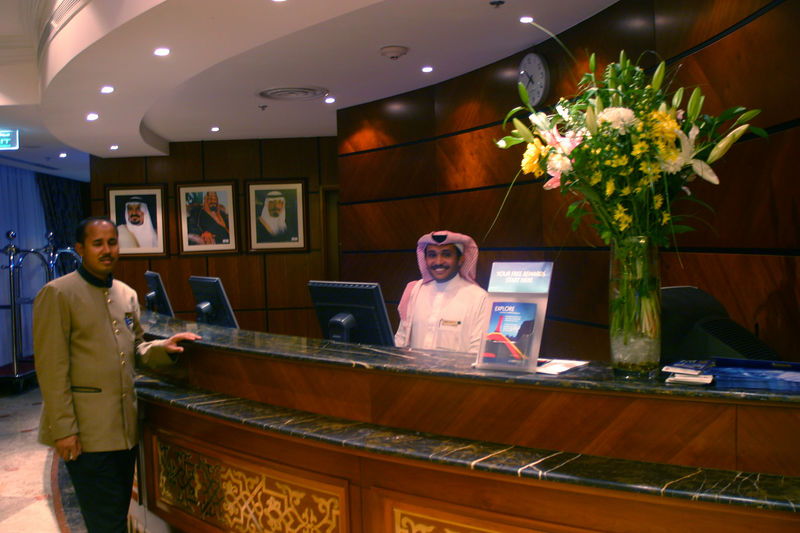 The reception desk at the Hotel Le Meridien.