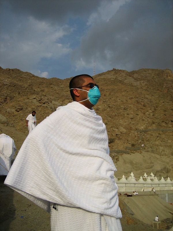 Zeeshan on the hill.  we started wearing the masks at camp that Nadeem and Arshad had brought.  Without them you were caughing uncontrollably by the end of the day.