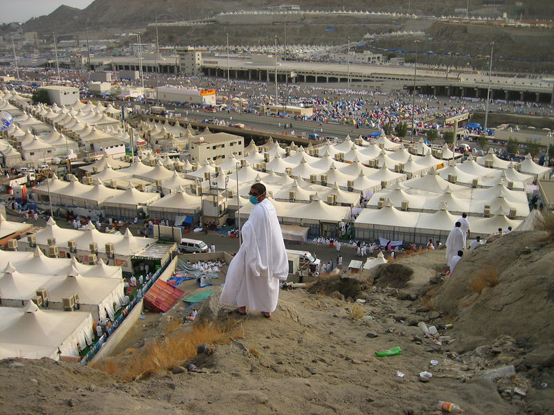 We had a few minutes to climb the hills behind the camp.  In the background is our camp and behind that is the Jamarat.  The position was ideal since you could see the crowds at the Jamarat and could time your trip to stone the Shaytan.