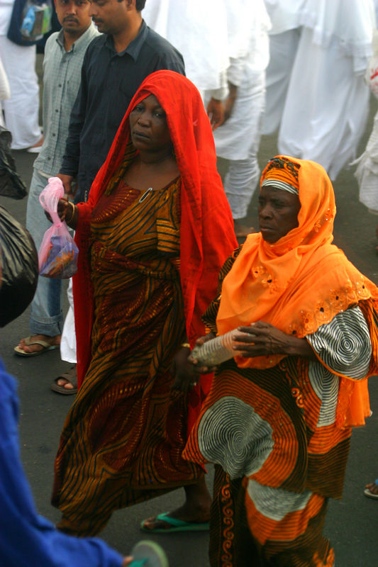 African Hajis always dressed in colorful clothes.