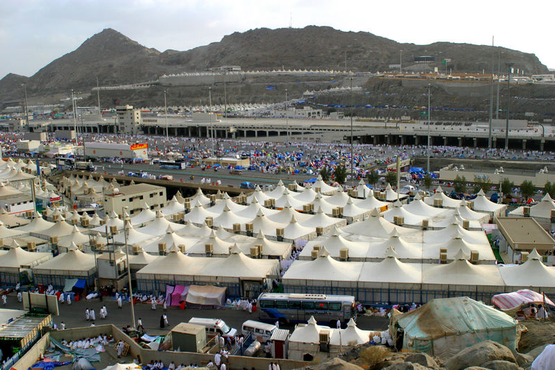 The Jamarat in the background.