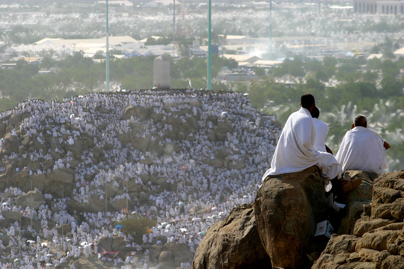 The hill in the background is where the Prophet Mohammed (PBUH)gave his final sermon before Hajj.  The spot is marked with a large white obelisk at the top of the hill.  Although you are not bound to pray on the hill, yet every foot of it is covered with people.