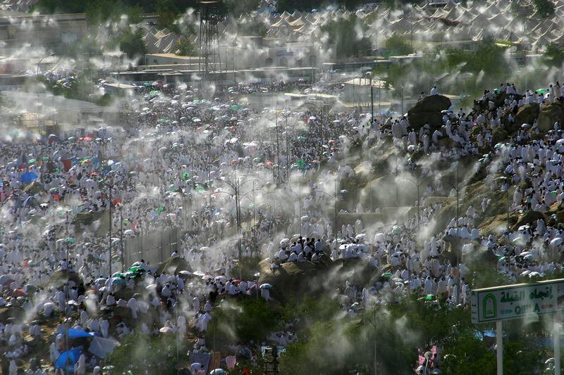 Mist sprays kept people cool in the heat.