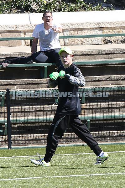 Under 16 Soccer Hakoah Sydney City East FC vs Nepean FC. Hakoah won 3-2. Nepean goalkeeper after he repeatedly kicked Julian Dimas.
