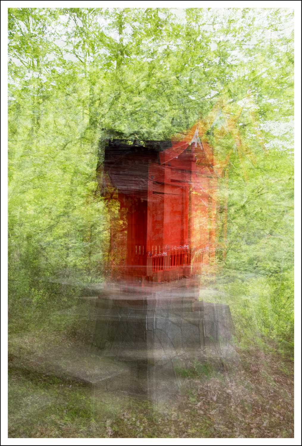 Just playing with multiple exposures.  10 exposures while walking around this little shrine.