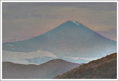 Mt. Fuji from Komagatake.  I don't even remember what I did to this one. I think it is a torn paper filter and then watercolor.