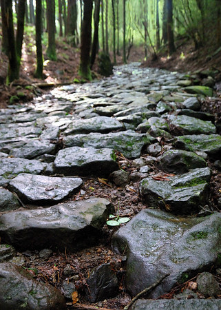 This is part of the old tokaido highway.  People used to walk on this with straw sandals over 100 years ago.