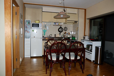 This was our kitchen - dining area early on.  We have replaced the refrigerator, narrow cupboards and the table, so it looks different now.