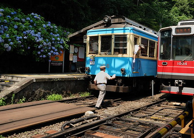 The mountain climbing trains run on a single track, but pass each other at Miyanoshita.