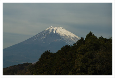 Mt. Fuji and Hoezan, seen along the highway in Izu