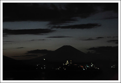 Mt. Fuji at night. This isn't a very good picture, but we always look for the mountain along this highway.