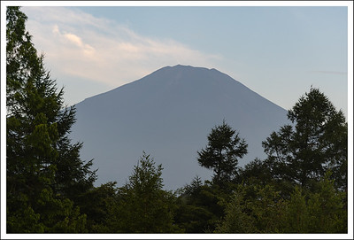 Mt. Fuji at 5am from the Nikon Lodge parking lot.