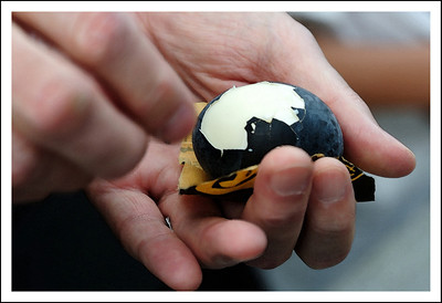 Chris pealing his boiled egg.