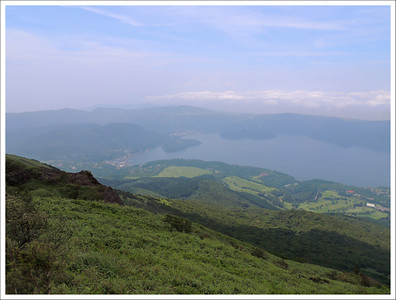 The view from the top of the hill. (Lake Ashi)