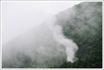The newest hot spring vent in the low clouds.
