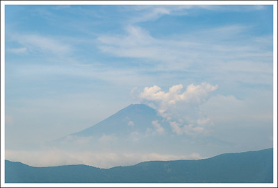 Mt. Fuji from Owakudani in July without snow.