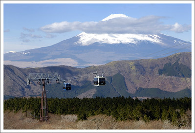 Fuji from Owakudani with the Hkone ropeway.