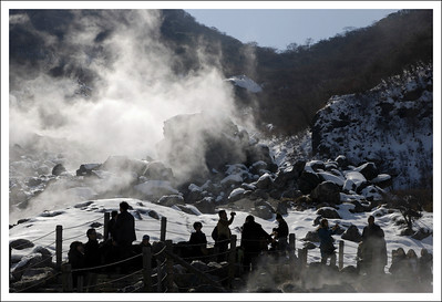 Snow and steam at Owakudani.