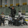 A local youth hockey coach instructs participants in the Little Bruins Youth Hockey Program at the Gaetz Arena at Wallace Civic Center. SENTINEL&ENTERPRISE/ Jim Marabello