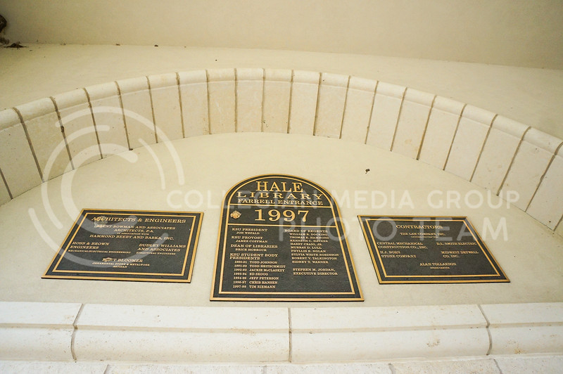 Hale Library Farrell entrance with recognition towards the architects, engineers, and contractors. 15 September 2020. Haley Jacques || Collegian Media Group