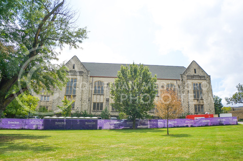 Construction going on in the back exterior of Hale Library. 15 September 2020. Haley Jacques || Collegian Media Group
