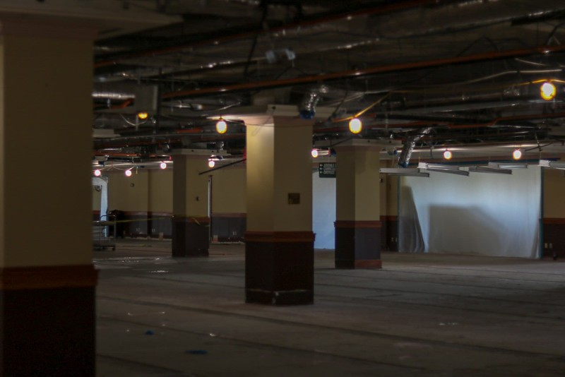 The second floor of Hale Library has been stripped of carpet, ceiling tiles and furniture. (Dene Dryden | Collegian Media Group)