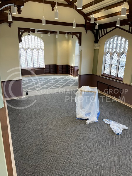 This area of the Great Room in Hale Library sustained the most fire damage. Now, the room sits ready for furniture. (Bailey Britton   Collegian Media Group)