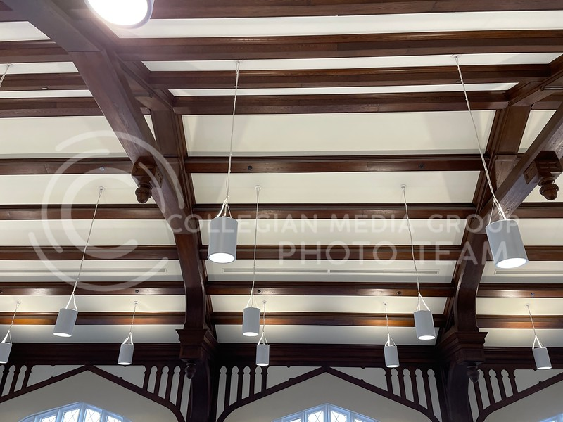 Above this ceiling, the May 22, 2018 fire began. Now, it's refurbished. (Bailey Britton   Collegian Media Group)