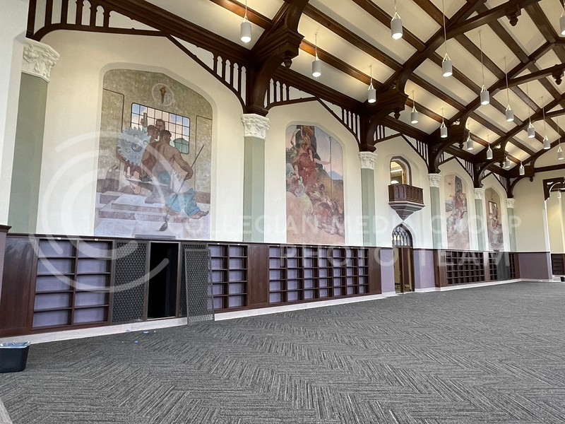 The four murals in the Great Room of Hale Library represent the original four focuses of Kansas State — industry, agriculture, the arts and the home. (Bailey Britton   Collegian Media Group)