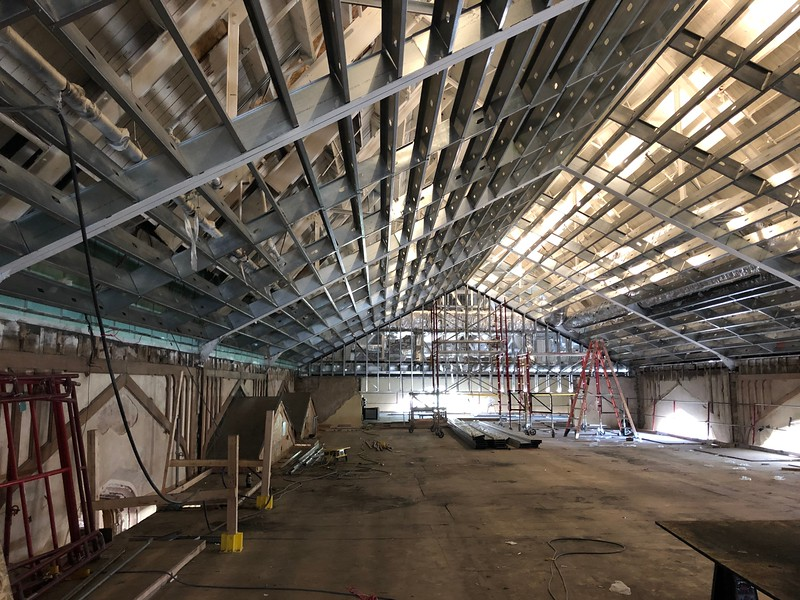 "Up on a raised platform nicknamed the ""dance floor,"" one can see the incomplete ceiling of Hale Library's Great Room. Photo taken on May 17, 2019. (Dene Dryden 