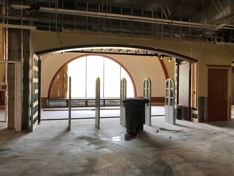 The interior second floor entryway in Hale Library. Nearly a year after the fire, the security scanners remain. Photo taken on May 17, 2019. (Dene Dryden | Collegian Media Group)