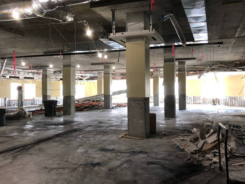 Support columns stand tall among the debris on the second floor of Hale Library on May 17, 2019. (Dene Dryden | Collegian Media Group)