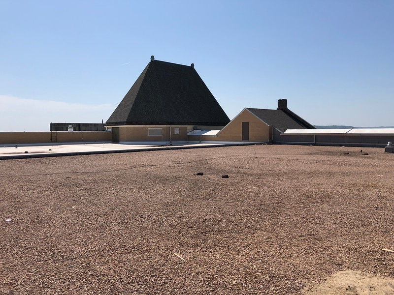 "The roof of Hale, known as the ""penthouse,"" is covered with small pebbles. Photo taken on May 17, 2019. (Dene Dryden 