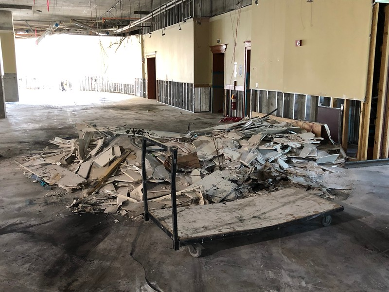 A pile of rubble rests on the second floor of Hale Library on May 17, 2019. (Dene Dryden | Collegian Media Group)