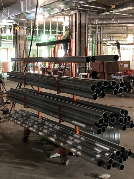 Pipes stacked on a cart on the first floor of Hale Library on May 17, 2019. (Dene Dryden | Collegian Media Group)
