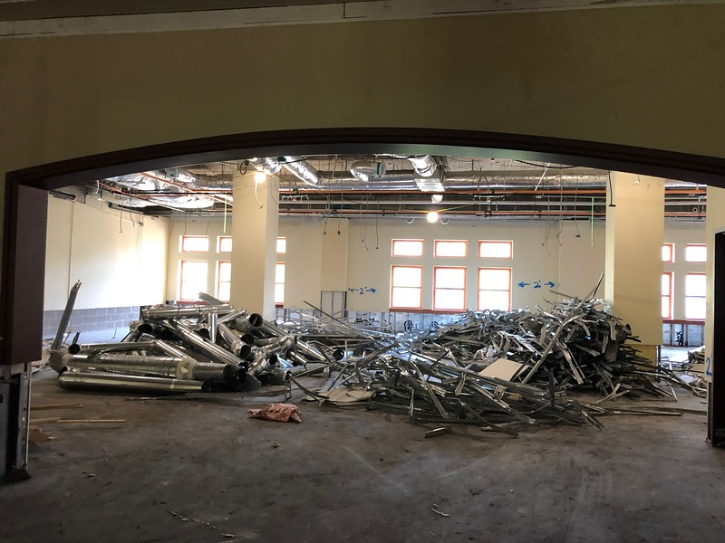 Piles of scrap metal sit in an open room on Hale Library's second floor on May 17, 2019. (Dene Dryden | Collegian Media Group)